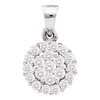 14kt White Gold Womens Round Diamond Circle Frame Flower Cluster Pendant 1/2 Cttw