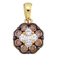 14kt Yellow Gold Womens Round Cognac-brown Color Enhanced Diamond Cluster Pendant 1/2 Cttw