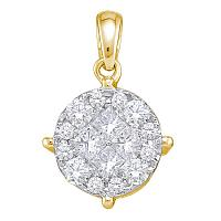 14kt Yellow Gold Womens Princess Diamond Soliel Cluster Pendant 1/2 Cttw