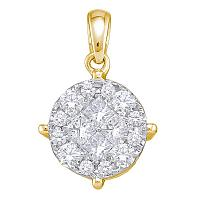 14K White Gold Yellow Princess Round Diamond Soleil Cluster Pendant 1.00 Cttw