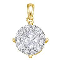 14kt Yellow Gold Womens Princess Round Diamond Soleil Cluster Pendant 2.00 Cttw