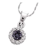 14kt White Gold Womens Round Black Color Enhanced Diamond Framed Flower Cluster Pendant 1/4 Cttw
