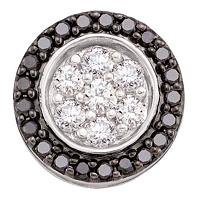 14kt White Gold Womens Round Black Color Enhanced Diamond Circle Frame Flower Cluster Pendant 3/4 Cttw