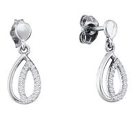 10kt White Gold Womens Round Diamond Teardrop Dangle Screwback Earrings 1/8 Cttw