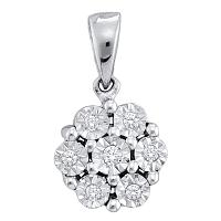 10kt White Gold Womens Round Diamond Cluster Pendant 1/20 Cttw