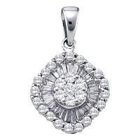 14kt White Gold Womens Round Diamond Framed Square Cluster Pendant 3/4 Cttw