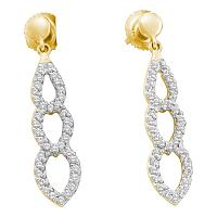 14kt Yellow Gold Womens Round Diamond Dangle Earrings 3/8 Cttw