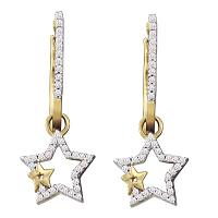 10kt Yellow Gold Womens Round Diamond Double Star Dangle Earrings 1/4 Cttw