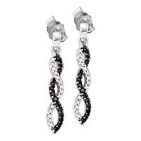 10kt White Gold Womens Round Black Color Enhanced Diamond Infinity Dangle Screwback Earrings 1/6 Cttw
