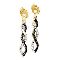 10kt Yellow Gold Womens Round Black Color Enhanced Diamond Infinity Dangle Screwback Earrings 1/6 Cttw