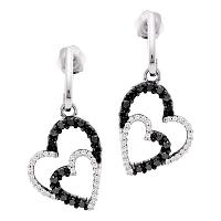 10kt White Gold Womens Round Black Color Enhanced Diamond Double Heart Dangle Screwback Earrings 1/2 Cttw
