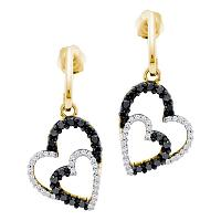 10kt Yellow Gold Womens Round Black Color Enhanced Diamond Double Heart Dangle Screwback Earrings 1/2 Cttw