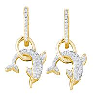 10kt Yellow Gold Womens Round Diamond Dolphin Dangle Earrings 1/3 Cttw