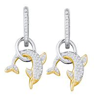 10k White Gold Round Pave-set Diamond Womens Dolphin Nautical Dangle Earrings 1/3 Cttw