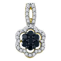 10kt White Gold Womens Round Black Color Enhanced Diamond Framed Cluster Pendant 1/3 Cttw
