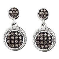 10kt White Gold Womens Round Diamond Dangle Screwback Earrings 1/4 Cttw