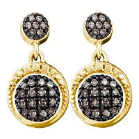 10kt Yellow Gold Womens Round Brown Color Enhanced Diamond Dangle Earrings 1/4 Cttw