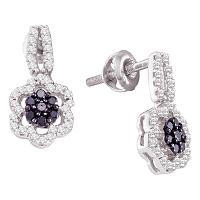 10kt White Gold Womens Round Black Color Enhanced Diamond Flower Cluster Dangle Earrings 1/4 Cttw