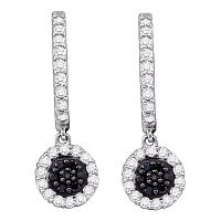 10k White Gold Black Color Enhanced Diamond Womens Hoop Flower Cluster Dangle Earrings 1/2 Cttw