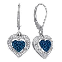 10kt White Gold Womens Round Blue Color Enhanced Diamond Heart Dangle Earrings 3/8 Cttw