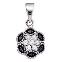 10kt White Gold Womens Round Black Color Enhanced Diamond Hexagon Cluster Pendant 1/5 Cttw