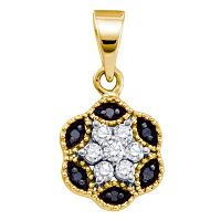 10kt Yellow Gold Womens Round Black Color Enhanced Diamond Hexagon Cluster Pendant 1/5 Cttw