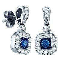 10kt White Gold Womens Round Blue Color Enhanced Diamond Square Dangle Screwback Earrings 5/8 Cttw