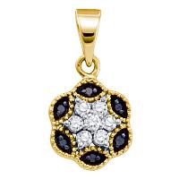 14kt Yellow Gold Womens Round Black Color Enhanced Diamond Hexagon Cluster Pendant 1/5 Cttw
