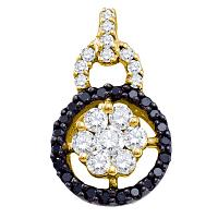 14kt Yellow Gold Womens Round Black Color Enhanced Diamond Framed Cluster Pendant 5/8 Cttw