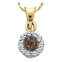 14k Yellow Gold Cognac-brown Color Enhanced Flower Cluster Diamond Womens Pendant 1/4 Cttw