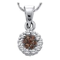 14k White Gold Womens Cognac-brown Color Enhanced Diamond Flower Cluster Circle Pendant 1/2 Cttw