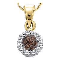 14k Yellow Gold Womens Cognac-brown Color Enhanced Diamond Flower Cluster Circle Pendant 1/2 Cttw