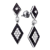 10kt White Gold Womens Round Black Color Enhanced Diamond Dangle Earrings 5/8 Cttw