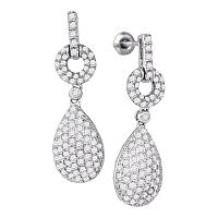 10kt White Gold Womens Round Diamond Teardrop Dangle Earrings 2.00 Cttw