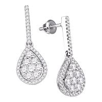 10kt White Gold Womens Round Diamond Dangle Screwback Earrings 1-1/2 Cttw