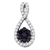 10kt White Gold Womens Round Black Color Enhanced Diamond Teardrop Cluster Pendant 3/8 Cttw