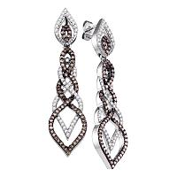 10kt White Gold Womens Cognac-brown Color Enhanced Diamond Dangle Earrings 1-1/2 Cttw