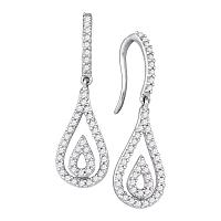 10kt White Gold Womens Round Diamond Teardrop Dangle Earrings 1/2 Cttw