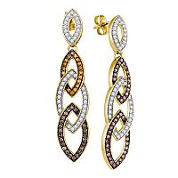 10kt Yellow Gold Womens Round Cognac-brown Color Enhanced Diamond Cascading Oval Dangle Earrings 1-1/3 Cttw