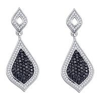 10kt White Gold Womens Round Black Color Enhanced Diamond Dangle Earrings 2-1/6 Cttw