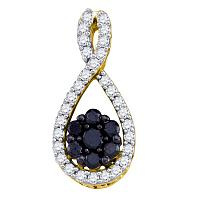 10kt Yellow Gold Womens Round Black Color Enhanced Diamond Teardrop Cluster Pendant 3/8 Cttw