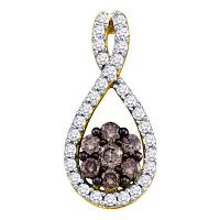 10kt Yellow Gold Womens Round Cognac-brown Color Enhanced Diamond Cluster Pendant 3/8 Cttw