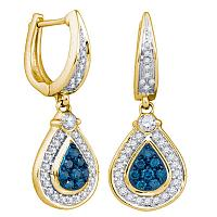 10kt Yellow Gold Womens Round Blue Color Enhanced Diamond Teardrop Dangle Earrings 1/2 Cttw
