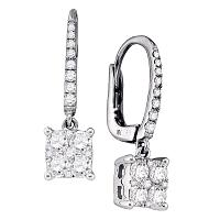 18kt White Gold Womens Round Diamond Cluster Dangle Earrings 3/4 Cttw