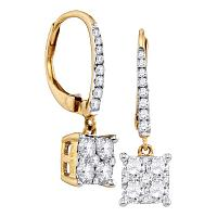 18K Yellow Gold Round Cluster Diamond Womens Square-shape Dangle Hoop Earrings 7/8 Cttw