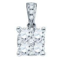 18K White Gold Womens Round Diamond Square Cluster Charm Pendant 3/4 Cttw