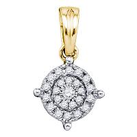 10kt Yellow Gold Womens Round Diamond Circle Frame Cluster Pendant 1/6 Cttw