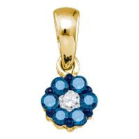 10kt Yellow Gold Womens Round Blue Color Enhanced Diamond Flower Cluster Pendant 1/4 Cttw