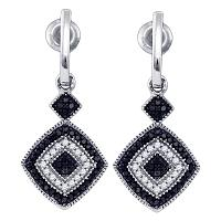 10kt White Gold Womens Round Black Color Enhanced Diamond Concentric Square Dangle Earrings 1/3 Cttw