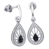 10kt White Gold Womens Black Color Enhanced Diamond Teardrop Dangle Earrings 1/3 Cttw